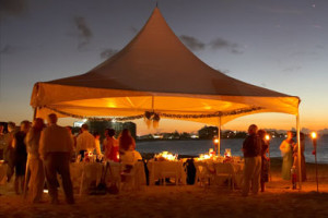 beach wedding tent at sunset